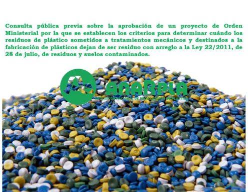 Consulta pública previa sobre la aprobación de un proyecto de Orden Ministerial por la que se establecen los criterios para determinar cuándo los residuos de plástico sometidos a tratamientos mecánicos y destinados a la fabricación de plásticos dejan de ser residuo con arreglo a la Ley 22/2011, de 28 de julio, de residuos y suelos contaminados.